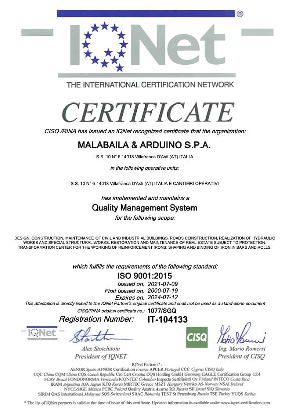 certificazioni malabaila